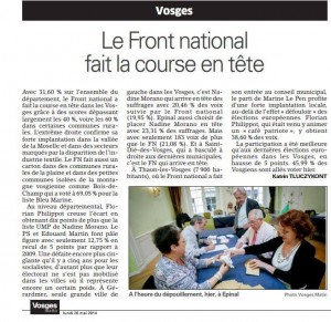 Article Vosges Matin du 26 Mai 2014